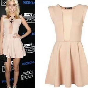 Top shop petite nude skater dress with mesh panels